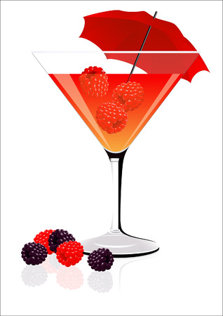 Raspberry cocktail,  illustration,  Vector