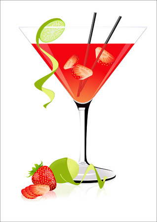 Strawberry cocktail,  illustration, Vector