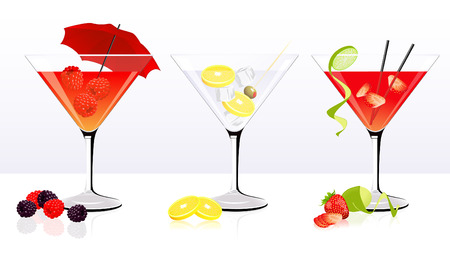 tubule: Cocktail set, illustration,  Illustration