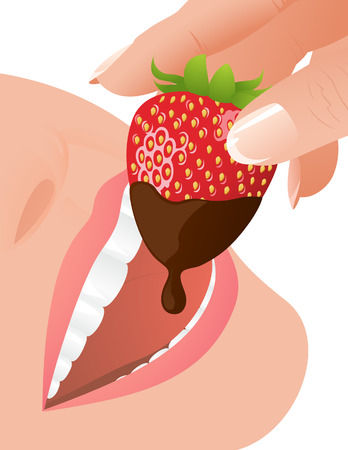 Woman eating strawberry in chocolate, illustration Vector
