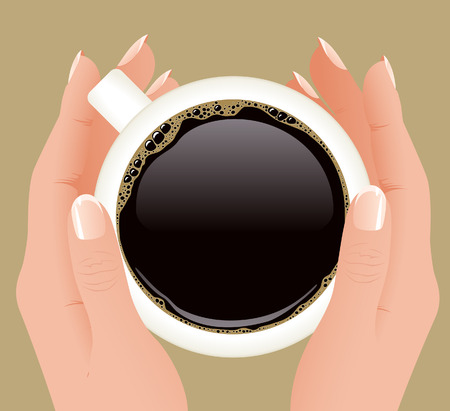 Cup of coffee in hands,  illustration,  Illustration