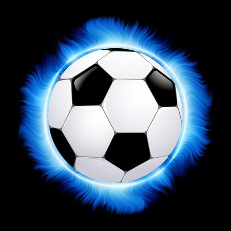 Football ball burning in blue fire,  illustration, Vector