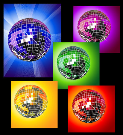 mirrored: Colored disco balls Illustration
