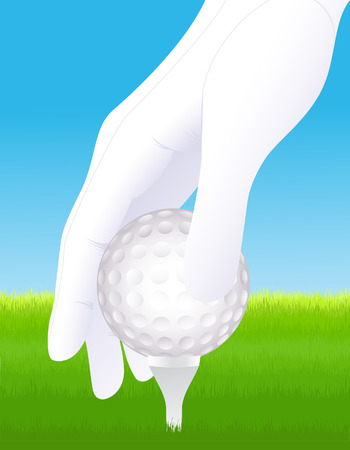 Hand holding golf ball Vector