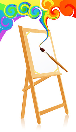 canvas painting: Magic easel, vector illustration, EPS and AI files included