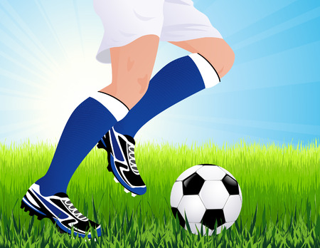 gaiters: Football player in blue gaiters, vector illustration, EPS file included Illustration