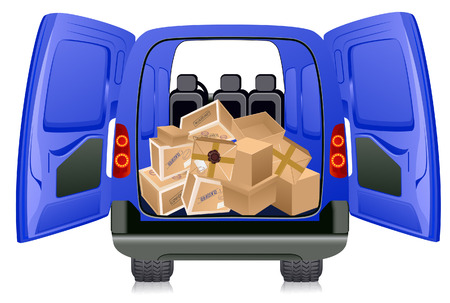 packing tape: Parcels in minibus, vector illustration, EPS file included