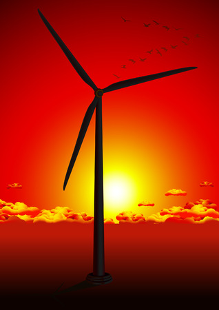 Wind farm in red sunset, vector illustration, EPS file included Vector