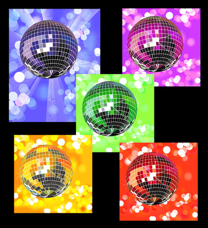 Colored disco balls in defocused lights,  vector illustration, EPS file included Vector