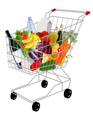 Shopping basket with produce,  vector illustration, EPS file included Vector