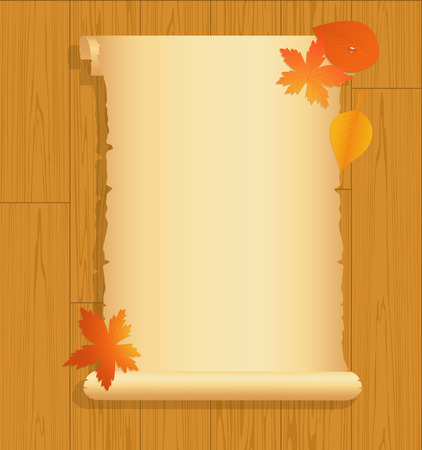 Old paper on wooden background Vector