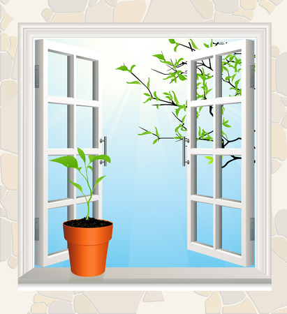 window sill: Flowerpot on window sill Illustration