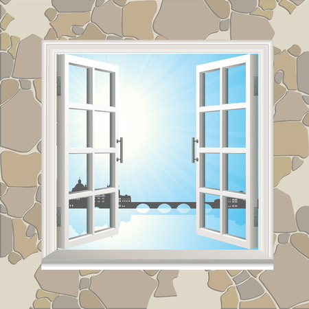 Open window in stone wall Vector