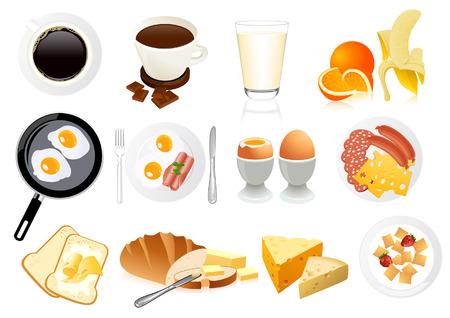 pan con mantequilla: Iconos de desayuno