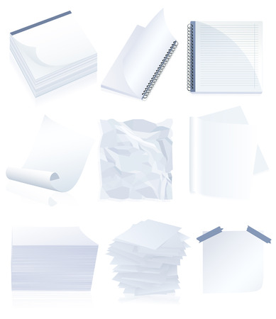 Paper set, vector illustration, EPS file included Vector