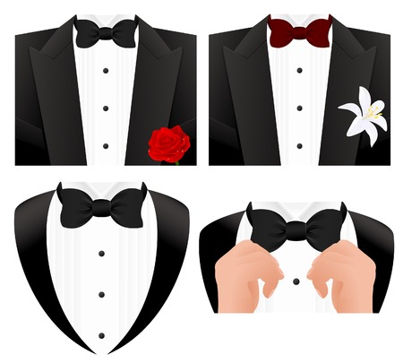 red tie: Bow tie set Illustration