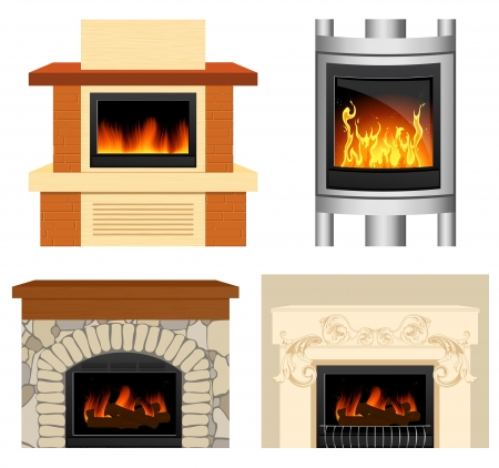 Fireplace set Vector