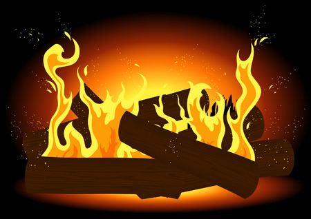 scorching: Fire in the fireplace