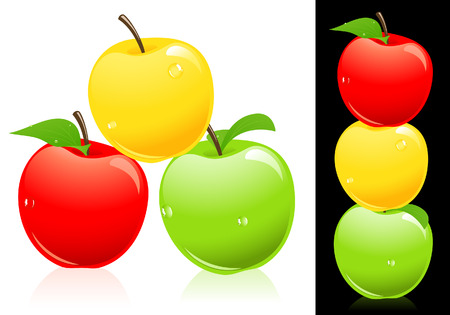 three colors: Apples three different colors
