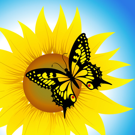 Butterfly sitting on sunflower Illustration
