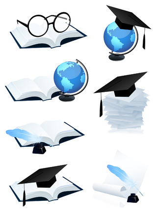 eyeglass: Eduction icon set,   illustration