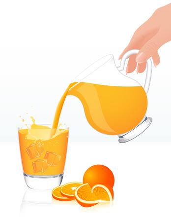 orange juice glass: Barattolo di succo d'arancia, illustrazione