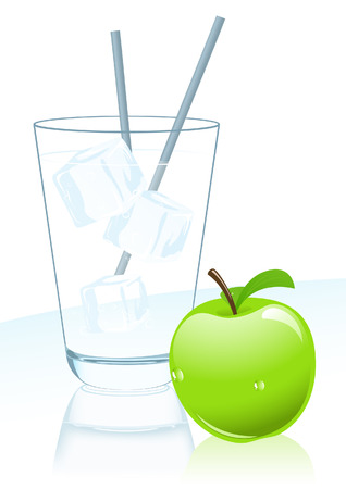 soda splash: Glass of mineral water and apple,  illustration Illustration