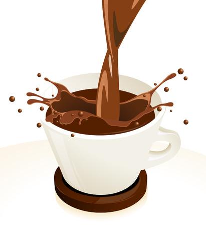 hot chocolate drink: Caf� de bienvenida  Vectores