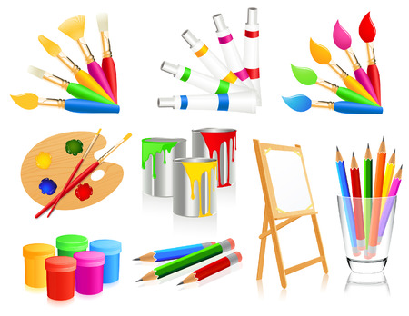 paint cans: Painting icons Illustration