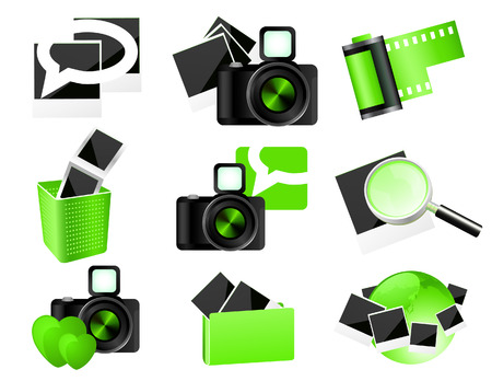 photo icons: Green photo icons,  illustration.