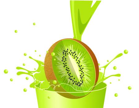 Kiwi falling in juice, illustration Vector