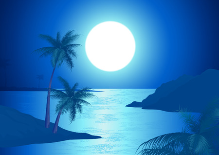 Night on the beach, EPS and AI formats included Vector