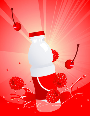 fruitage: Forest berry juice bottle, illustration