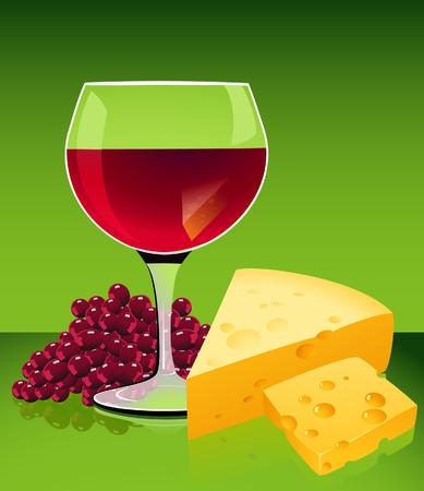bocal: Vino e formaggio, illustrazione  Vettoriali