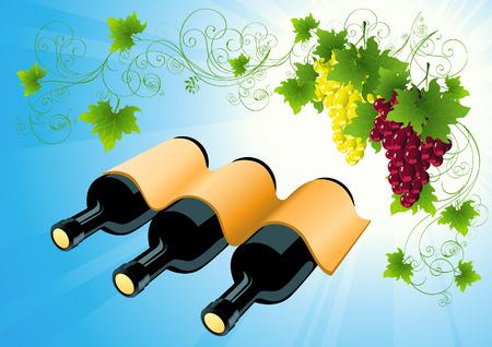 still life food: Wine bottle background, illustration