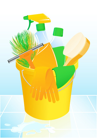 cleaning bathroom: Detergents,  illustration,