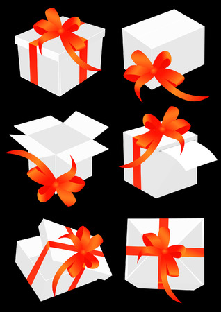 Present boxes with red bow. Vector