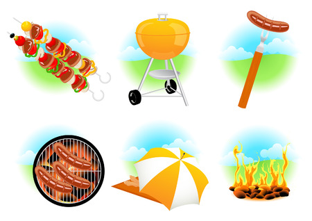 sunshades: Barbecue icons,  illustration