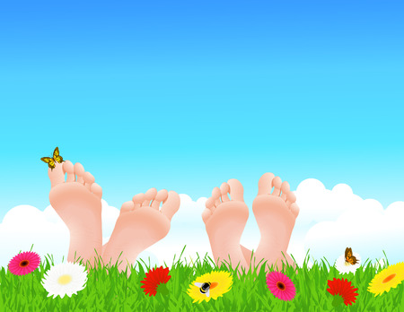 feet relaxing: Couple lying on summer field,   illustration