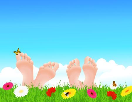 pies: Pareja acostado en el campo de verano, ilustraci�n  Vectores