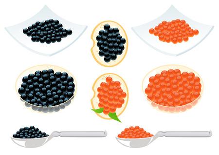 caviar: Caviar rouge et noir, illustration
