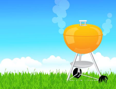 chorizos asados: Barbacoa de verano, ilustraci�n