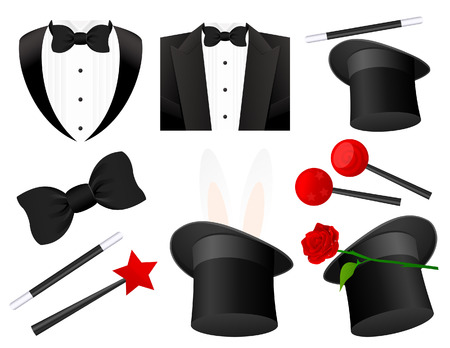 top hat: Magician icons,   illustration