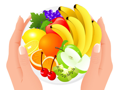 Fruit plate in human hands,   illustration  Vector