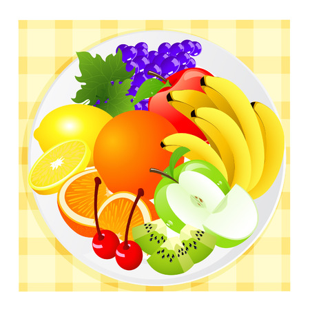 Fruit plate,   illustration  Vector