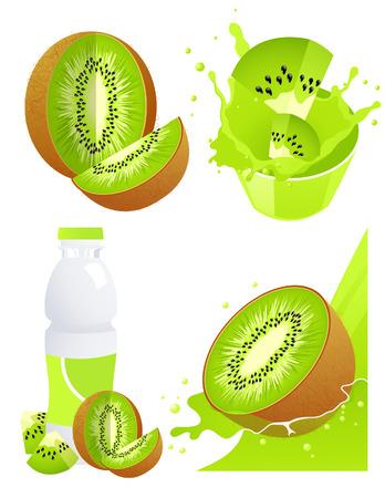 grape juice: Kiwi products,  illustration  Illustration