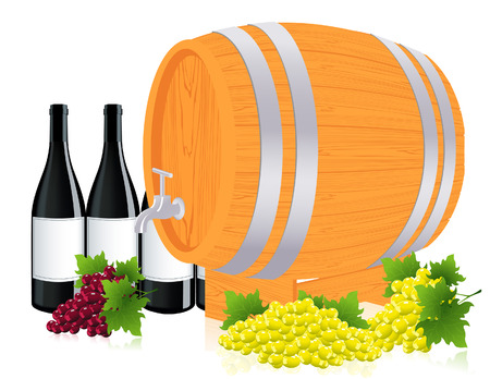 Barrel with wine,  illustration  Vector