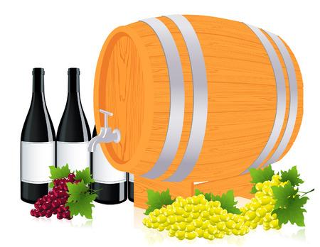 Barrel with wine,  illustration