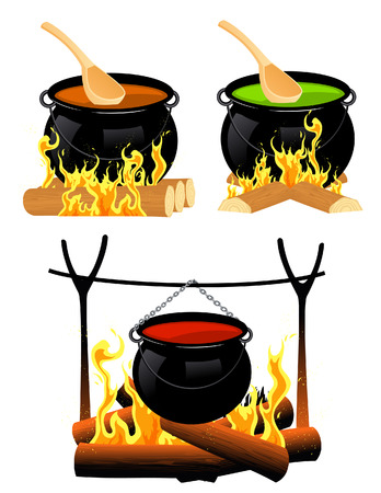 boiling pot: Cauldron set, illustration