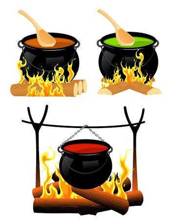 soup spoon: Ketel set, afbeelding  Stock Illustratie